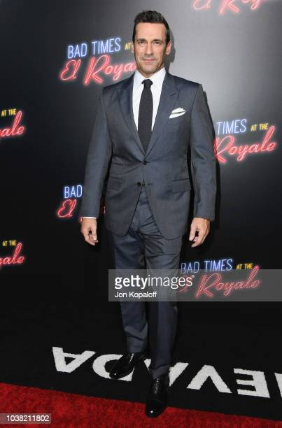 """Jon Hamm attends the premiere of 20th Century FOX's """"Bad Times At The El Royale"""" at TCL Chinese Theatre on September 22, 2018 in Hollywood,..."""