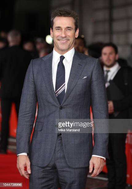 "Jon Hamm attends the World Premiere of Amazon Prime Video's ""The Romanoffs"" at The Curzon Mayfair on October 2, 2018 in London, England."