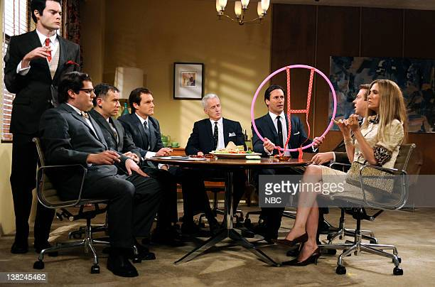 LIVE 'Jon Hamm' Episode 1537 airdate Pictured Bill Hader as Salvatore Romano Bobby Moynihan as Harry Crane Fred Armisen Will Forte as Pete Campbell...