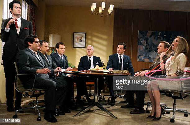 LIVE Jon Hamm Episode 1537 airdate Pictured Bill Hader as Salvatore Romano Bobby Moynihan as Harry Crane Fred Armisen Will Forte as Pete Campbell...