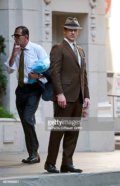 Jon Hamm is seen on the set of Mad Men on January 14 2014 in Los Angeles California
