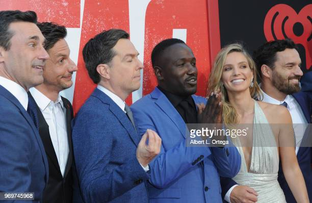 Jon Hamm Jeff Tomsic Ed Helms Hannibal Buress Annabelle Wallis and Jake Johnson arrive for the Premiere Of Warner Bros Pictures And New Line Cinema's...