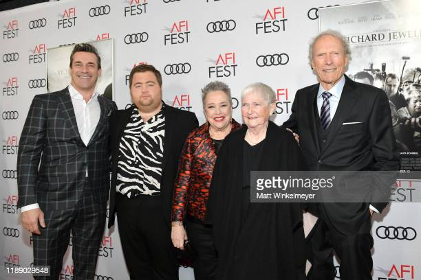 Jon Hamm Paul Walter Hauser Kathy Bates Barbara Bobi Jewell and Clint Eastwood attends the Richard Jewell premiere during AFI FEST 2019 Presented By...