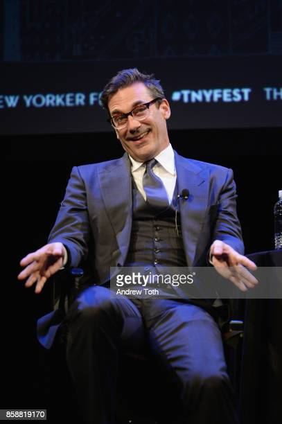 Jon Hamm speaks onstage during the 2017 New Yorker Festival at SIR Stage37 on October 7 2017 in New York City