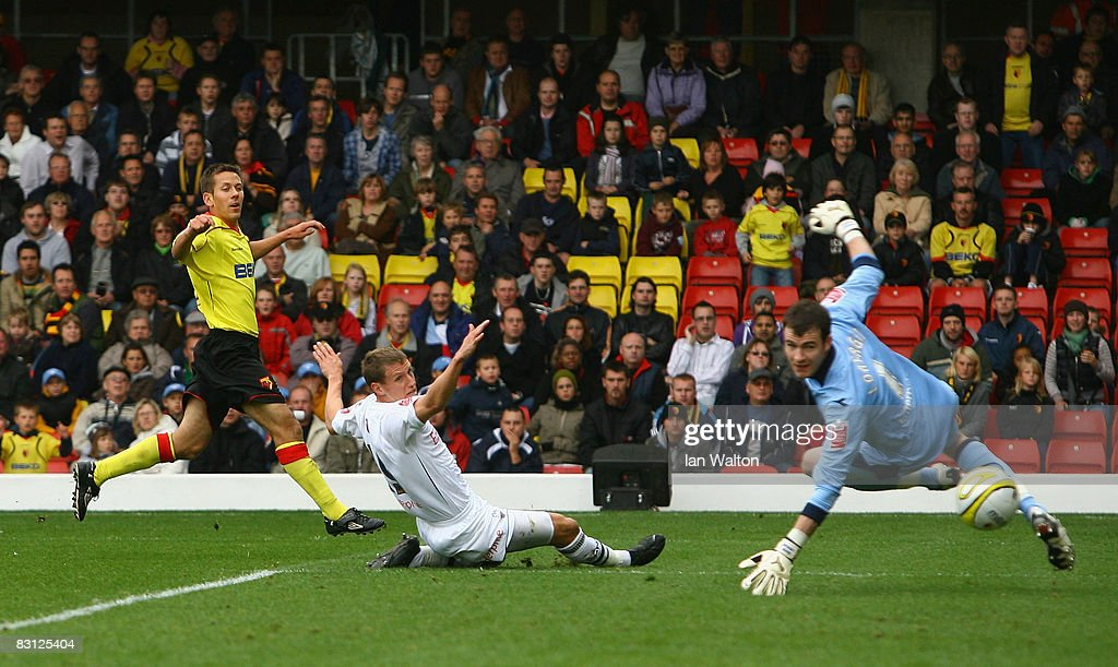 Jon Harley of Watford scores a goal during the Coca-Cola Championship match between Watford and Preston North End at Vicarage Road on October 04, 2008 in Watford, England.