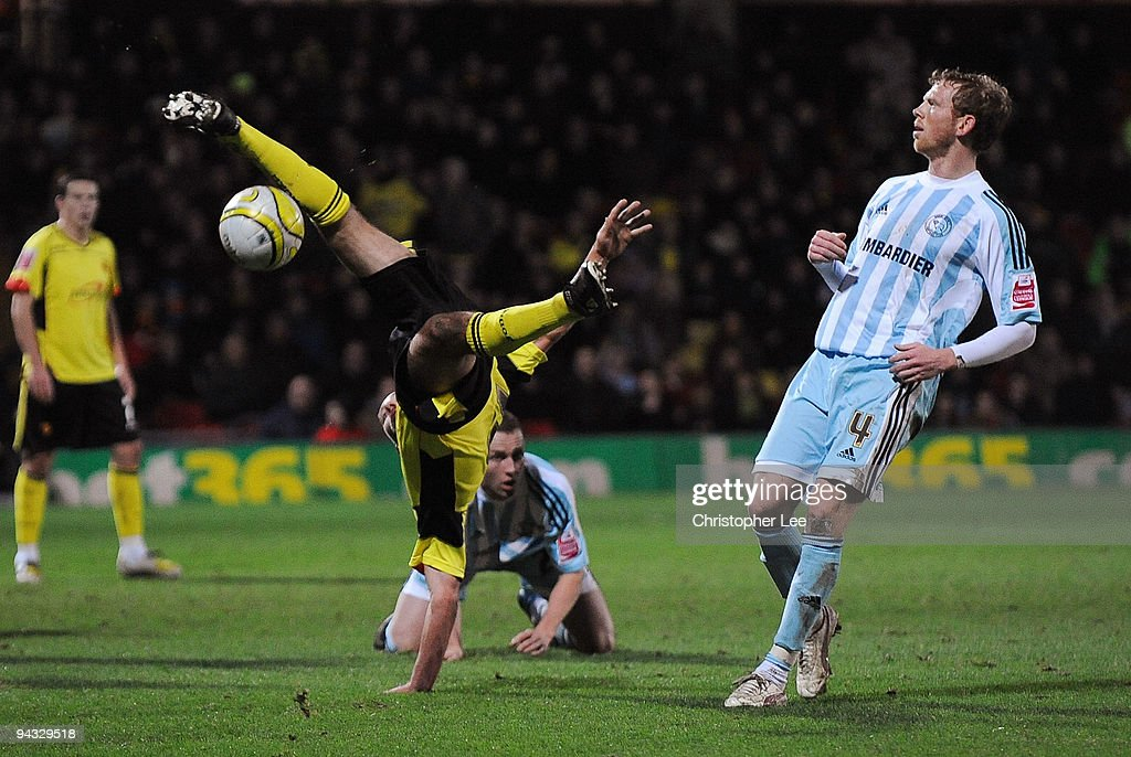 Jon Harley of Watford tries an overhead kick during the Coca-Cola Championship match between Watford and Derby County at Vicarage Road on December 12, 2009 in Watford, England.