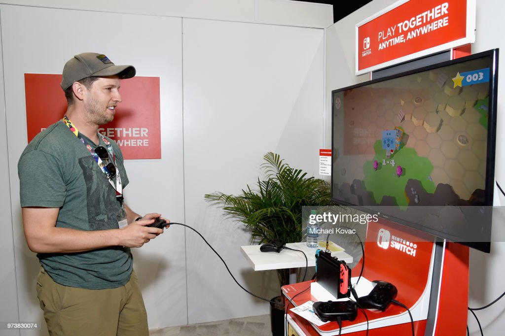 Jon Heder stopped by the Nintendo booth at the 2018 E3 Gaming Convention for some hands-on time with the Overcooked! 2 game for the Nintendo Switch system on on June 13, 2018 in Los Angeles, California.