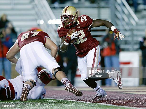 Jon Hilliman of the Boston College Eagles gains yards against the Louisville Cardinals in the first quarter at Alumni Stadium on November 8 2014 in...
