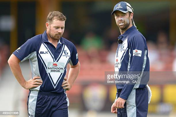 Jon Holland and Rob Quiney of Victoria look on during the Matador BBQs One Day Cup match between Tasmania and Victoria at North Sydney Oval on...