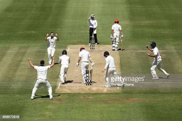 Jon Holland of the Bushrangers celebrates with team mates after claiming the wicket of Travis Head of the Redbacks during the Sheffield Shield final...