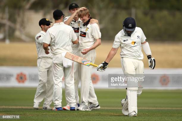 Jon Holland of the Bushrangers looks dejected after being dismissed by David Moody of the Warriors during the Sheffield Shield match between Victoria...