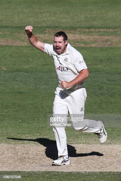 Jon Holland of Victoria celebrates a wicket during day four of the Sheffield Shield match between Victoria and Western Australia at Melbourne Cricket...