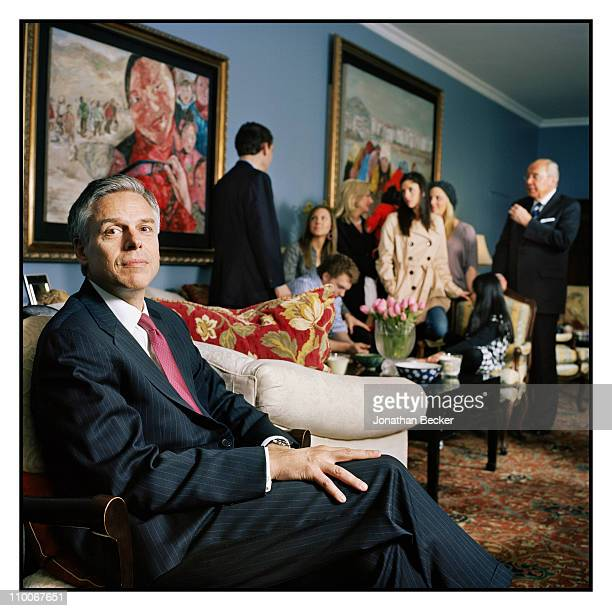 Jon Huntsman Jr and family including Jon Huntsman and Peter Huntsman are photographed for Fortune Magazine on March 10 2010 in Beijing China...