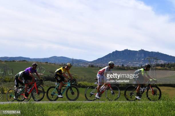 Jon Irisarri Rincon of Spain and Team Caja Rural-Seguros RGA / Jesus Ezquerra Muela of Spain and Team Burgos - BH / Maurice Ballerstedt of Germany...