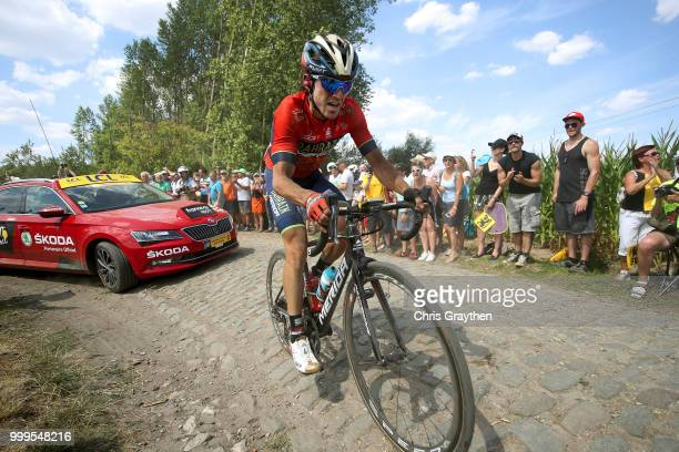 Jon Izaguirre Insausti of Spain and Bahrain Merida Pro Team / ont Thibault a Ennevelin Cobbles Sector 1 / Pave / during the 105th Tour de France 2018...
