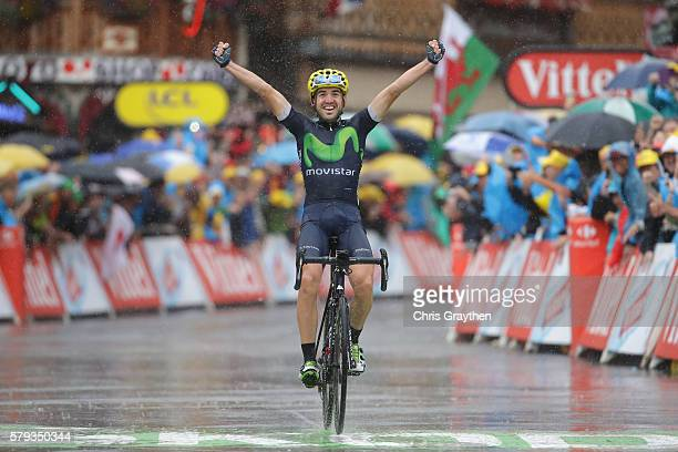 Jon Izaguirre of Spain and Movistar Team celebrates as he crosses the finish line to win stage twenty of the 2016 Le Tour de France, from Megeve to...