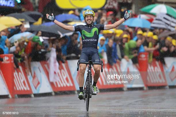 Jon Izaguirre of Spain and Movistar Team celebrates as he crosses the line to win stage twenty of the 2016 Le Tour de France, from Megeve to Morzine...