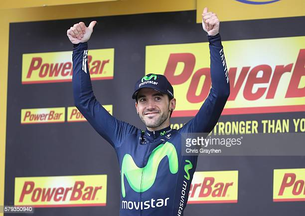 Jon Izaguirre of Spain and Movistar Team celebrates following victory in stage twenty of the 2016 Le Tour de France from Megeve to Morzine on July 23...