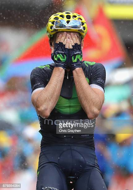 Jon Izaguirre of Spain and Movistar Team celebrates winning stage twenty of the 2016 Le Tour de France, from Megeve to Morzine on July 23, 2016 in...