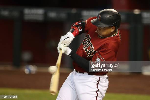 Jon Jay of the Arizona Diamondbacks swings at a pitch during an intrasquad game ahead of the abbreviated MLB season at Chase Field on July 06 2020 in...