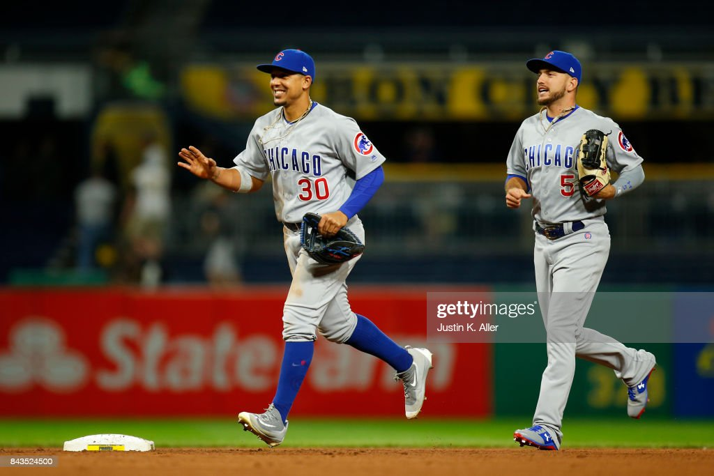 Jon Jay #30 of the Chicago Cubs celebrates after defeating the Pittsburgh Pirates 1-0 at PNC Park on September 6, 2017 in Pittsburgh, Pennsylvania.