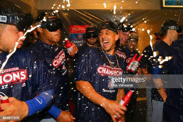 Jon Jay of the Chicago Cubs celebrates after winning the National League Central title against the St Louis Cardinals at Busch Stadium on September...