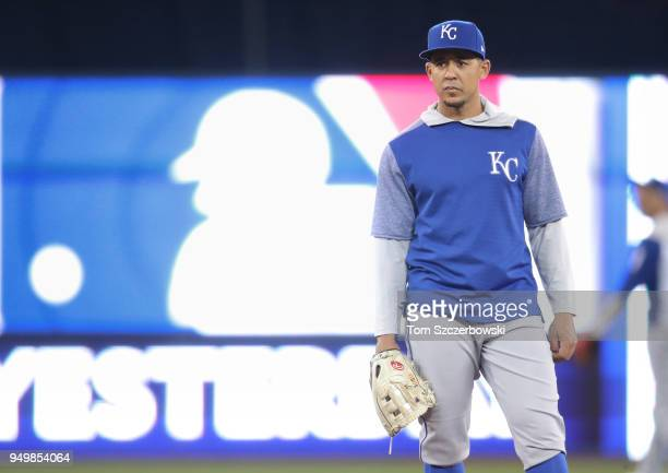 Jon Jay of the Kansas City Royals looks on as he warms up during batting practice before the start of MLB game action against the Toronto Blue Jays...
