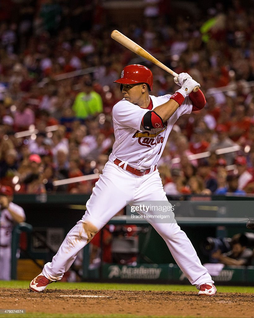 Jon Jay #19 of the St. Louis Cardinals bats against the Minnesota Twins on June 15, 2015 at Busch Stadium in St. Louis, Missouri. The Cardinals defeated the Twins 3-2.
