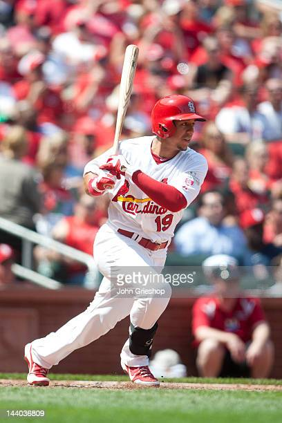 Jon Jay of the St Louis Cardinals connects with a pitch during the game against the Cincinnati Reds on Thursday April 19 2012 at Busch Stadium in St...
