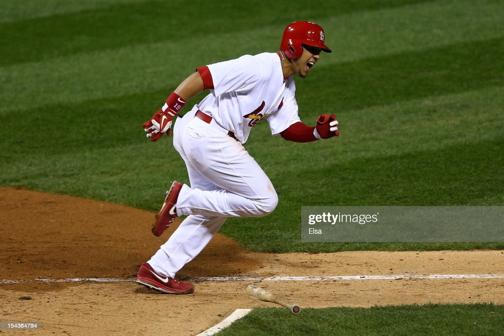 Jon Jay #19 of the St. Louis Cardinals reacts after he hits a RBI double in the sixth inning against the San Francisco Giants in Game Four of the National League Championship Series at Busch Stadium on October 18, 2012 in St Louis, Missouri.