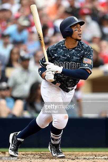 Jon Jay the San Diego Padres hits during a game against the St Louis Cardinals at Petco Park on April 24 2016 in San Diego California