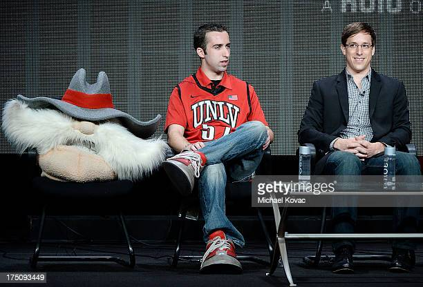 Jon 'Jersey' Goldman and Creator/Director/Executive Producer Josh Greenbaum speak onstage during the 'Behind the Mask' portion of the Hulu 2013...