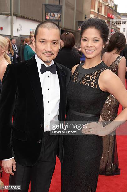 Jon Jon Briones and Eva Noblezada attend The Olivier Awards at The Royal Opera House on April 12 2015 in London England