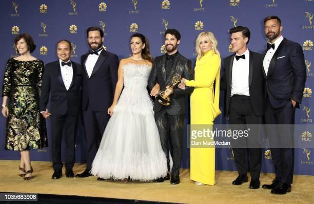 Jon Jon Briones Edgar Ramirez Penelope Cruz Darren Criss Judith Light Finn Wittrock Ricky Martin pose with the Outstanding Limited Series award for...