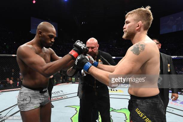 Jon Jones and Alexander Gustafsson of Sweden touch gloves prior to their light heavyweight bout during the UFC 232 event inside The Forum on December...