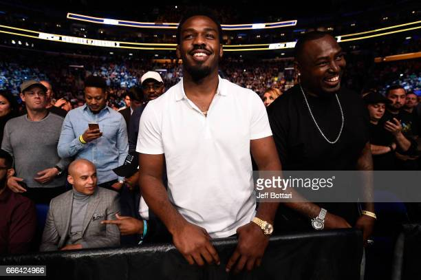 Jon Jones and brother Arthur Jones attend the UFC 210 event at the KeyBank Center on April 8 2017 in Buffalo New York