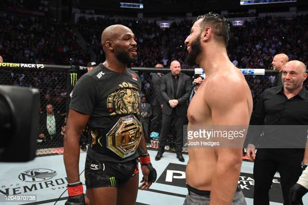 Jon Jones and Dominick Reyes interact after their light heavyweight championship bout during the UFC 247 event at Toyota Center on February 08 2020...