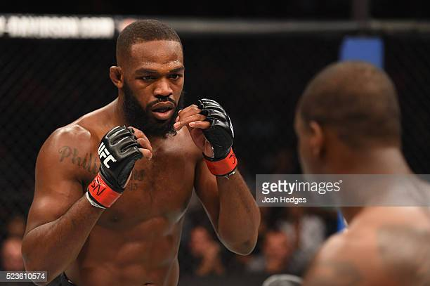 Jon Jones and Ovince Saint Preux face off in their interim UFC light heavyweight championship bout during the UFC 197 event inside MGM Grand Garden...