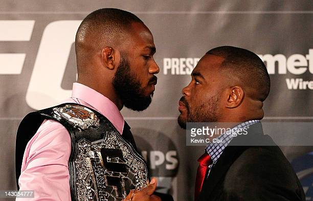 Jon Jones and Rashad Evans square off during the press conference for their UFC 145 between Jones v Evans at Park Tavern on April 18 2012 in Atlanta...