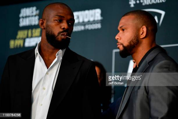 Jon Jones and Thiago Santos of Brazil face off during the UFC 239 Ultimate Media Day at T-Mobile Arena on July 4, 2019 in Las Vegas, Nevada.