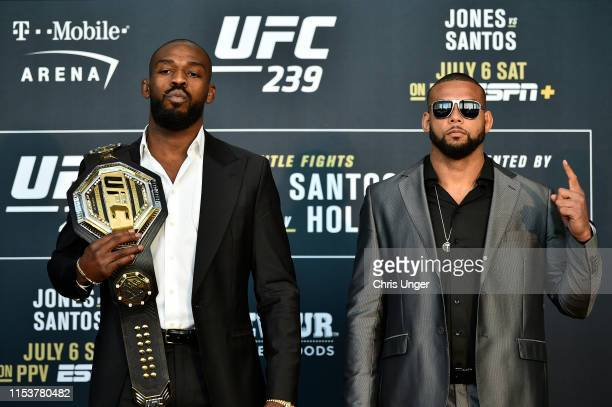 Jon Jones and Thiago Santos of Brazil pose for the media during the UFC 239 Ultimate Media Day at T-Mobile Arena on July 4, 2019 in Las Vegas, Nevada.
