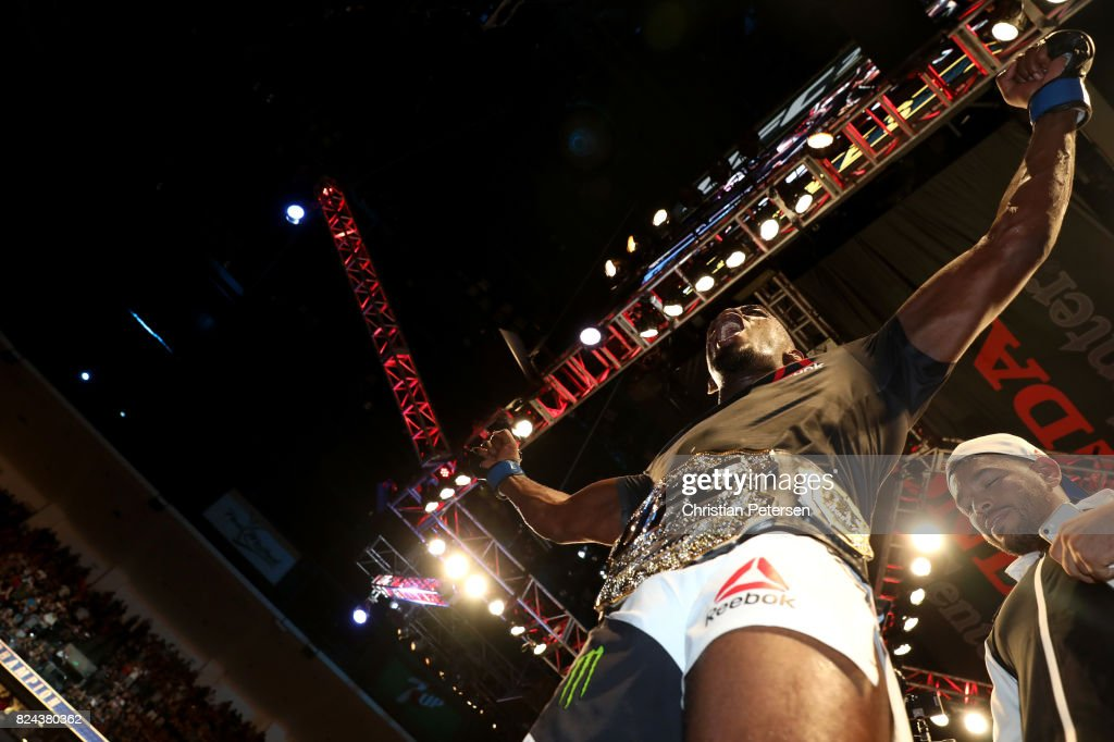 Jon Jones celebrates after defeating Daniel Cormier to win the UFC light heavyweight championship during the UFC 214 event at Honda Center on July 29, 2017 in Anaheim, California.