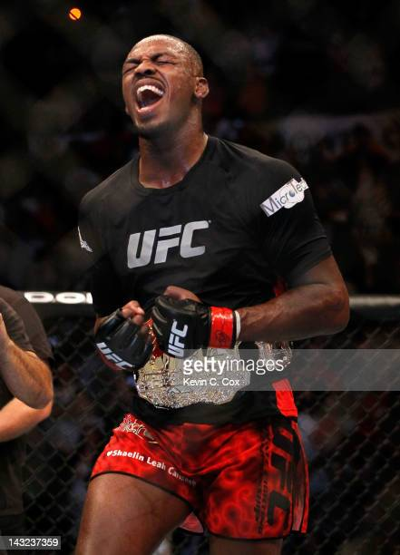 Jon Jones celebrates defeating Rashad Evans by unanimous decision in their light heavyweight title bout for UFC 145 at Philips Arena on April 21 2012...
