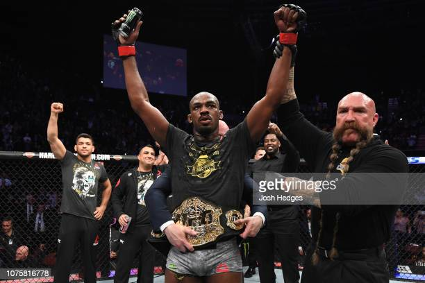 Jon Jones celebrates his KO victory over Alexander Gustafsson of Sweden in their light heavyweight bout during the UFC 232 event inside The Forum on...