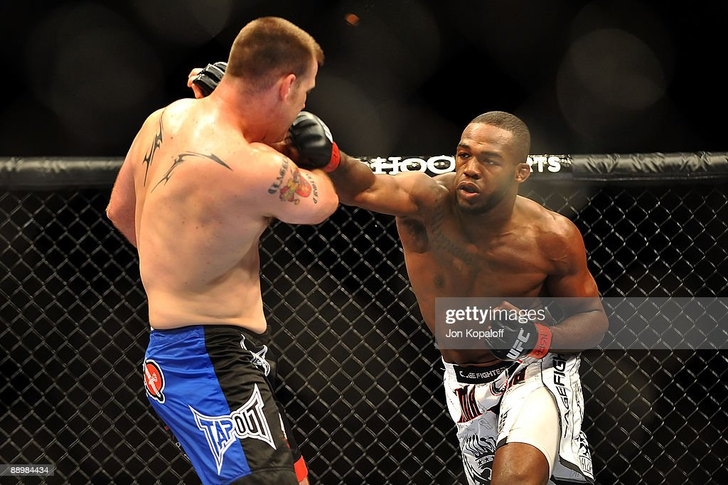 Jon Jones connects with a right punch on Jake O'Brein during their light heavyweight bout during UFC 100 on July 11, 2009 in Las Vegas, Nevada. Jones defeated O'Brein by second round tapout.