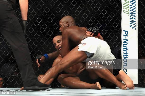 Jon Jones defeats Daniel Cormier in the Light Heavyweight title bout during UFC 214 at Honda Center on July 29 2017 in Anaheim California