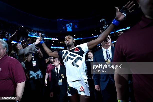 Jon Jones enters the arena prior to facing Daniel Cormier in their UFC light heavyweight championship bout during the UFC 214 event inside the Honda...