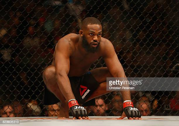 Jon Jones enters the Octagon before facing Ovince Saint Preux in their interim UFC light heavyweight championship bout during the UFC 197 event...