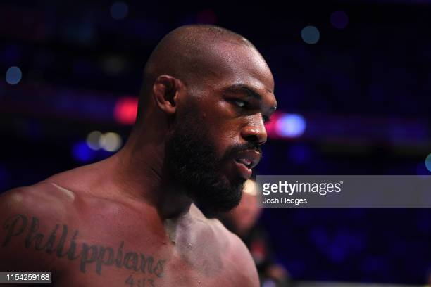 Jon Jones enters the octagon in his UFC light heavyweight championship fight during the UFC 239 event at T-Mobile Arena on July 6, 2019 in Las Vegas,...