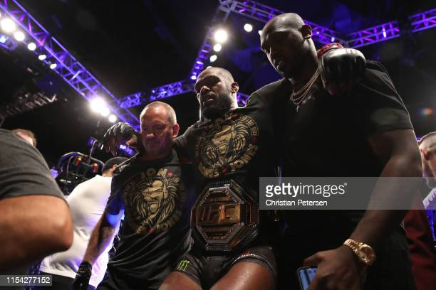 Jon Jones exits the octagon following his win over Thiago Santos of Brazil in their UFC light heavyweight championship fight during the UFC 239 event...